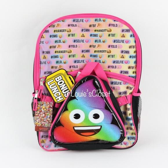 Emoji Other - Emoji Rainbow Poo Backpack with Lunch Kit